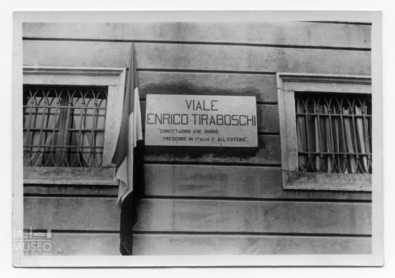 Targa del viale intitolato a Enrico Tiraboschi a Trescore Balneario